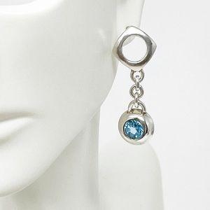 Versani Sterling Silver Blue Topaz Drop Earrings